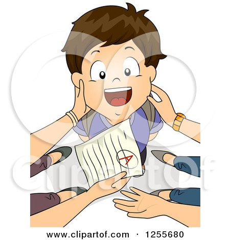 Clipart of a Proud Brunette White School Boy Being Praised for Good Grades by His Parents - Royalty Free Vector Illustration by BNP Design Studio