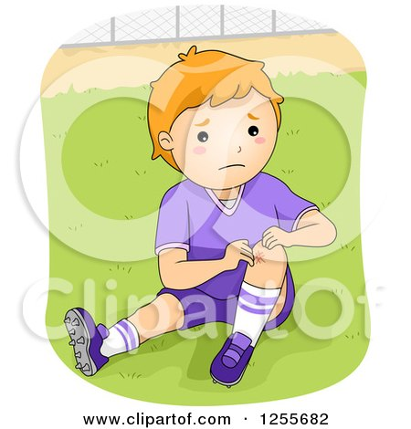 Clipart of a Caucasian Boy Showing a Knee Scrape from Playing Football - Royalty Free Vector Illustration by BNP Design Studio