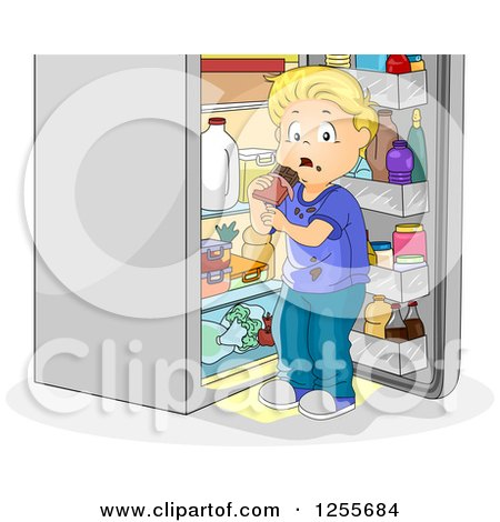 Clipart of a Blond Caucasian Boy Caught Eating Chocolate at an Open Fridge - Royalty Free Vector Illustration by BNP Design Studio
