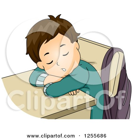 Clipart of a Tired White Brunette School Boy Sleeping at His Desk - Royalty Free Vector Illustration by BNP Design Studio