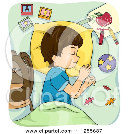 Clipart of a Brunette Caucasian Boy Napping with School Supplies - Royalty Free Vector Illustration by BNP Design Studio