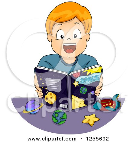 Clipart of an Excited White Boy Reading an Astronomy Book - Royalty Free Vector Illustration by BNP Design Studio