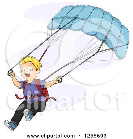 Clipart of a Blond White Boy Parachuting - Royalty Free Vector Illustration by BNP Design Studio