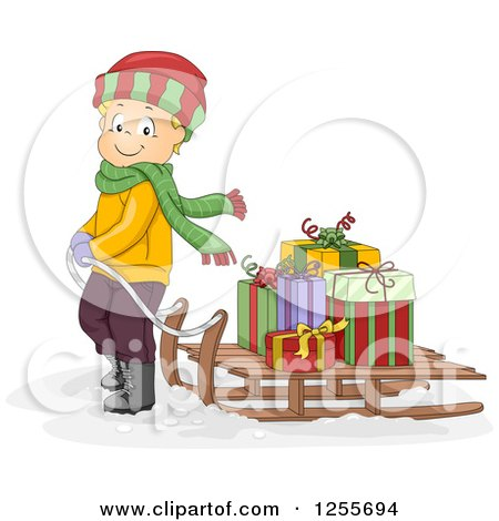 Clipart of a Blond White Boy Pulling Christmas Gifts on a Sled - Royalty Free Vector Illustration by BNP Design Studio