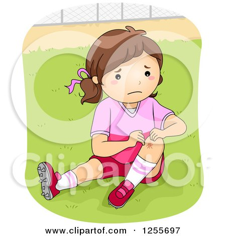 Clipart of a Football Player Girl Showing a Scraped Knee - Royalty Free Vector Illustration by BNP Design Studio