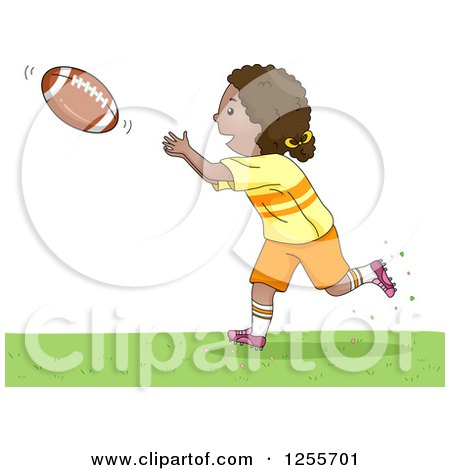 Clipart of a Sporty Black Girl Catching an American Football - Royalty Free Vector Illustration by BNP Design Studio