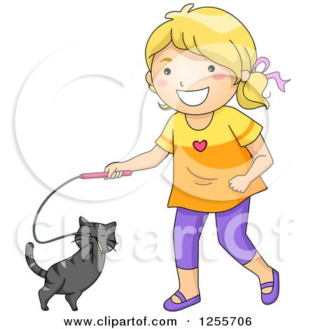 Clipart of a Happy Blond White Girl Playing with Her Cat and Toy - Royalty Free Vector Illustration by BNP Design Studio