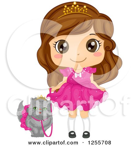 Clipart of a Cute Brunette White Girl Princess Walking Her Spoiled Persian Cat - Royalty Free Vector Illustration by BNP Design Studio