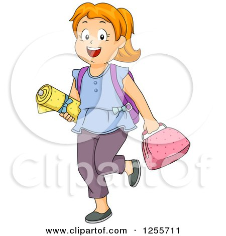 Clipart of a Red Haired White School Girl with Sewing Class Materials - Royalty Free Vector Illustration by BNP Design Studio