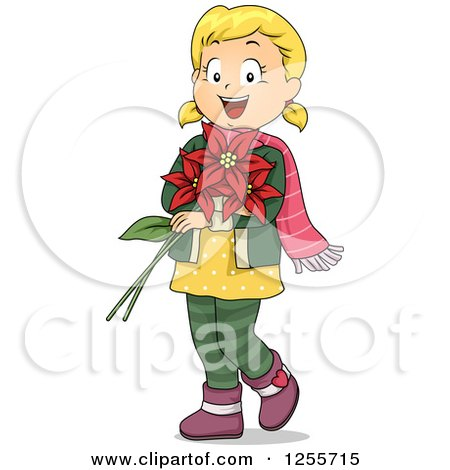 Clipart of a Happy Blond White Girl Holding Christmas Poinsettias - Royalty Free Vector Illustration by BNP Design Studio