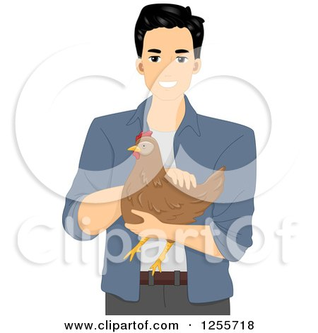 Clipart of a Happy Black Haired Man Holding a Hen - Royalty Free Vector Illustration by BNP Design Studio