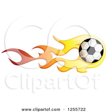 Clipart of a Soccer Ball with Red and Yellow Flames - Royalty Free Vector Illustration by BNP Design Studio