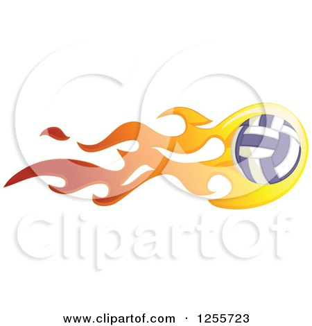 Clipart of a Volleyball with Flames - Royalty Free Vector Illustration by BNP Design Studio