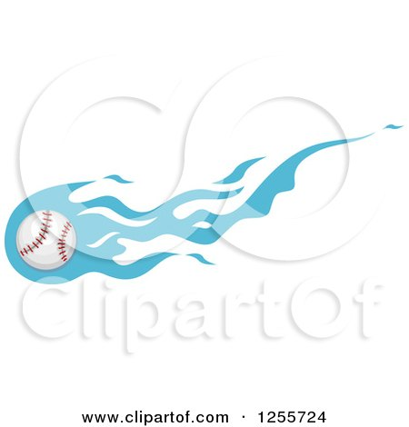 Clipart of a Baseball with Blue Flames - Royalty Free Vector Illustration by BNP Design Studio