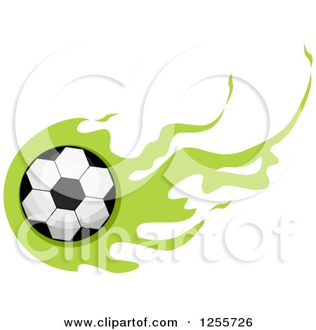 Clipart of a Soccer Ball with Green Flames - Royalty Free Vector Illustration by BNP Design Studio