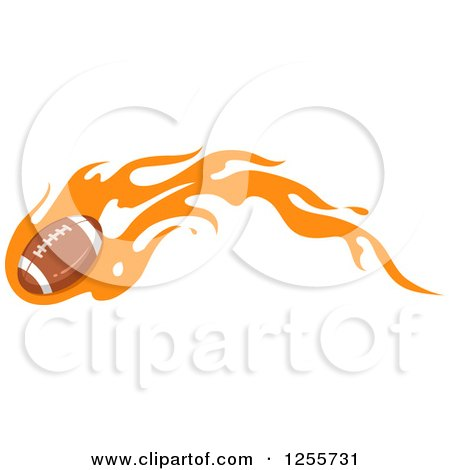 Clipart of an American Football with Orange Flames - Royalty Free Vector Illustration by BNP Design Studio