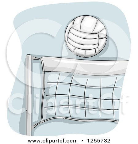Clipart of a Sketched Volleball over a Net - Royalty Free Vector Illustration by BNP Design Studio