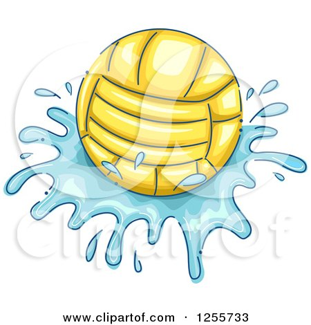 Clipart of a Water Polo Ball and Splash - Royalty Free Vector Illustration by BNP Design Studio