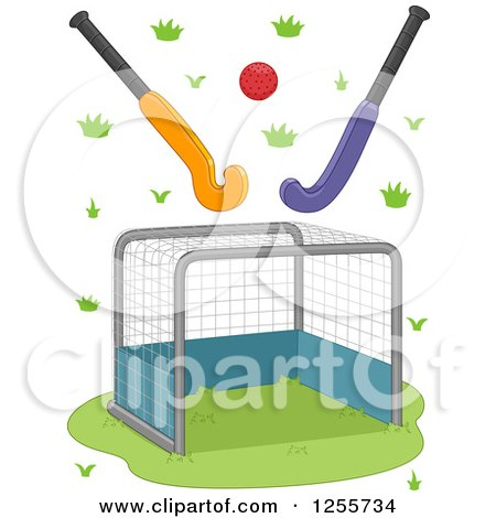 Clipart of a Field Hockey Goal Ball and Sticks - Royalty Free Vector Illustration by BNP Design Studio