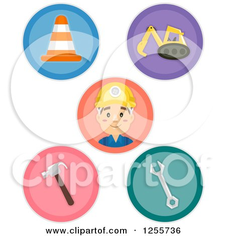 Round Construction Icons Posters, Art Prints