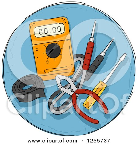 Clipart of a Round Blue Electric Tools Icon - Royalty Free Vector Illustration by BNP Design Studio