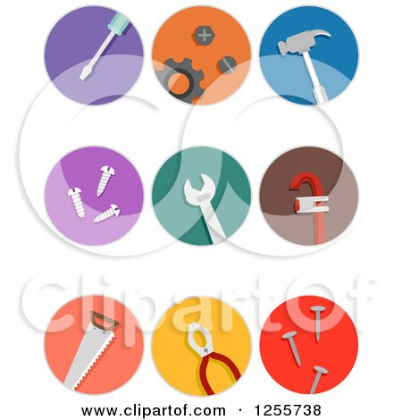 Clipart of Round Colorful Tools Icons - Royalty Free Vector Illustration by BNP Design Studio
