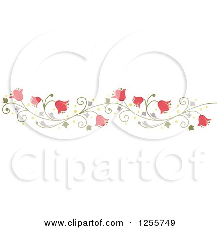 Clipart of a Pink Bell Flower and Vine Border - Royalty Free Vector Illustration by BNP Design Studio