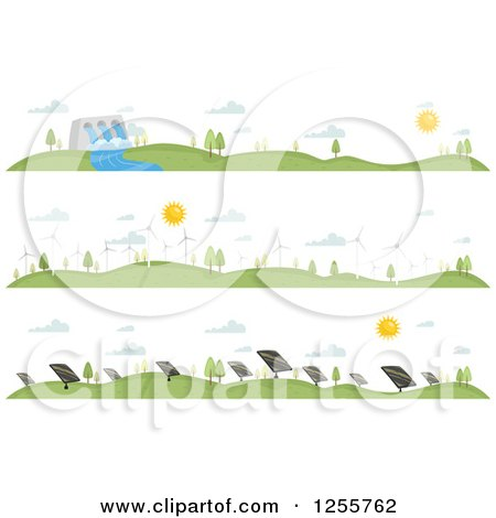 Clipart of Landscapes Showing Different Renewable Energy Sources - Royalty Free Vector Illustration by BNP Design Studio