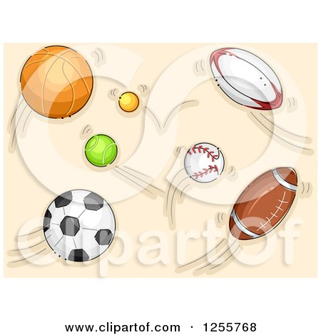 Clipart of Fast Sports Balls - Royalty Free Vector Illustration by BNP Design Studio
