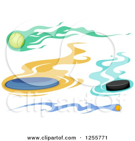 Clipart of a Flaming Frisbee Hockey Puck Tennis Ball and Ping Pong Ball - Royalty Free Vector Illustration by BNP Design Studio