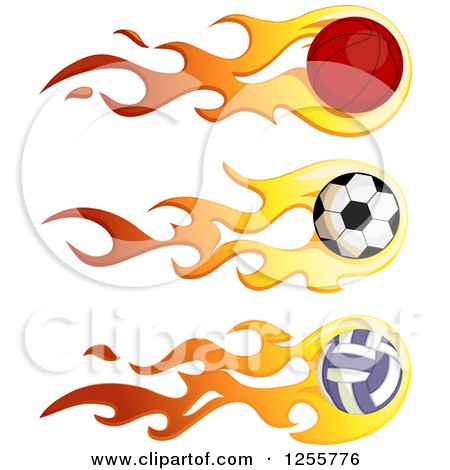 Clipart of a Flaming Basketball Soccer Ball and Volleyball - Royalty Free Vector Illustration by BNP Design Studio