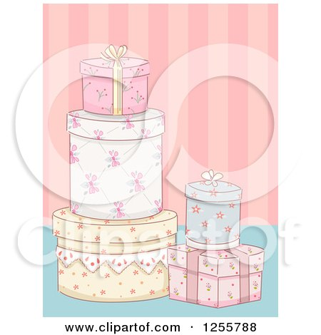 Clipart of Floral Shabby Chic Gifts over Stripes - Royalty Free Vector Illustration by BNP Design Studio