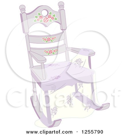 Clipart of a Shabby Chic Rocking Chair and Shawl - Royalty Free Vector Illustration by BNP Design Studio