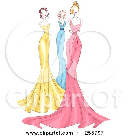 Clipart of Fashion Mannequins in Colorful Gowns - Royalty Free Vector Illustration by BNP Design Studio
