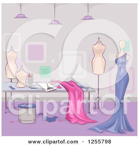 Clipart of a Dress Maker Shop with Fabrig and Mannequins - Royalty Free Vector Illustration by BNP Design Studio
