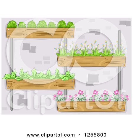 Clipart of a Vertical Garden with Plants - Royalty Free Vector Illustration by BNP Design Studio