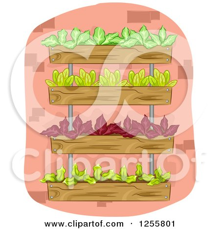 Clipart of a Vertical Garden with Leafy Plants - Royalty Free Vector Illustration by BNP Design Studio
