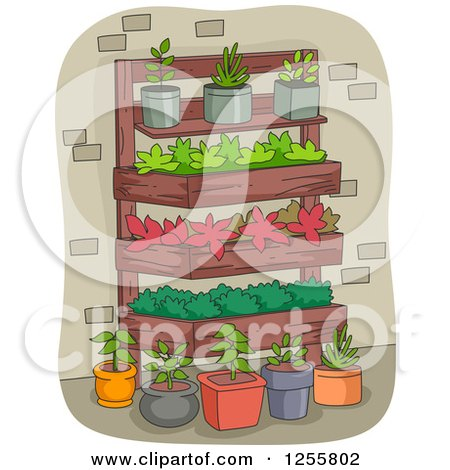 Clipart of a Vertical Garden and Potted Plants - Royalty Free Vector Illustration by BNP Design Studio