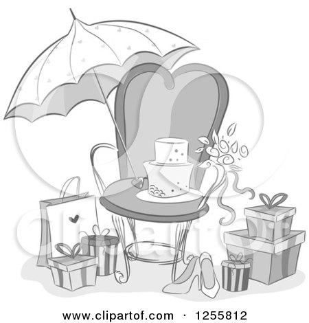 Clipart of a Grayscale Bridal Shower Party Chair, Umbrella and Gifts - Royalty Free Vector Illustration by BNP Design Studio
