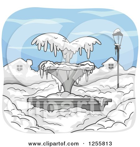 Clipart of a Frozen Water Fountain in the Snow - Royalty Free Vector Illustration by BNP Design Studio