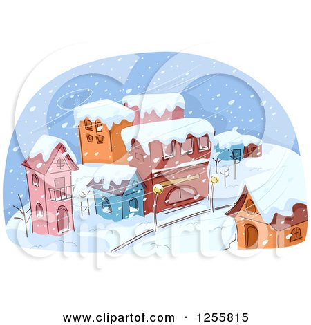 Clipart of a Village in a Snow Storm - Royalty Free Vector Illustration by BNP Design Studio