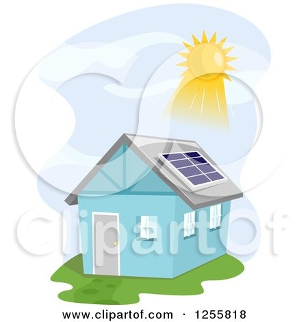 Clipart of a Blue House with the Sun Shining on a Solar Panel - Royalty Free Vector Illustration by BNP Design Studio