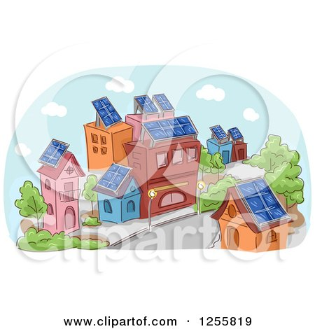 Clipart of a Street Scene of Buildigns with Solar Panels - Royalty Free Vector Illustration by BNP Design Studio