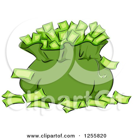 Clipart of a Green Money Bag and Banknotes - Royalty Free Vector Illustration by BNP Design Studio