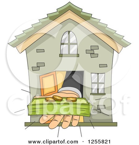 Clipart of a Banker's Hand Holding Money out from a House - Royalty Free Vector Illustration by BNP Design Studio