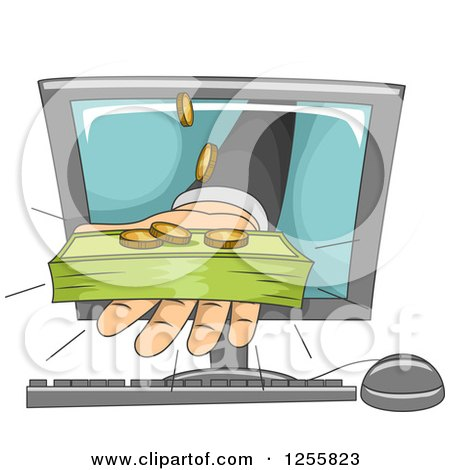Clipart of a Banker's Hand Holding out Cash Money from a Computer Screen - Royalty Free Vector Illustration by BNP Design Studio
