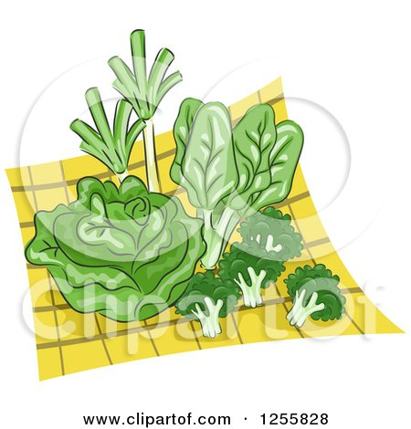 Clipart of Green Veggies on a Yellow Cloth - Royalty Free Vector Illustration by BNP Design Studio