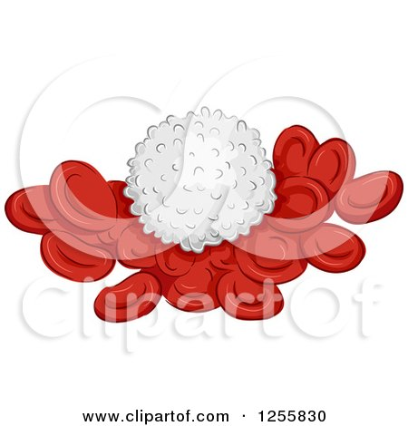 Clipart of a White Blood Cell on Red Cells - Royalty Free Vector Illustration by BNP Design Studio