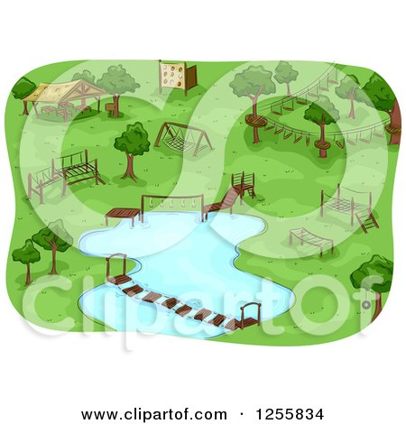 Clipart of a Camp Obstacle Course - Royalty Free Vector Illustration by BNP Design Studio