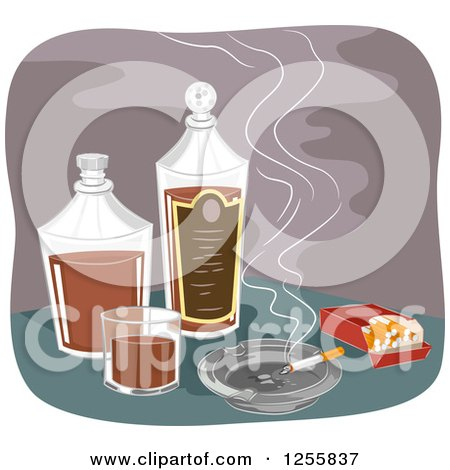 Clipart of a Smoking Cigarette and Pack with Alcohol - Royalty Free Vector Illustration by BNP Design Studio
